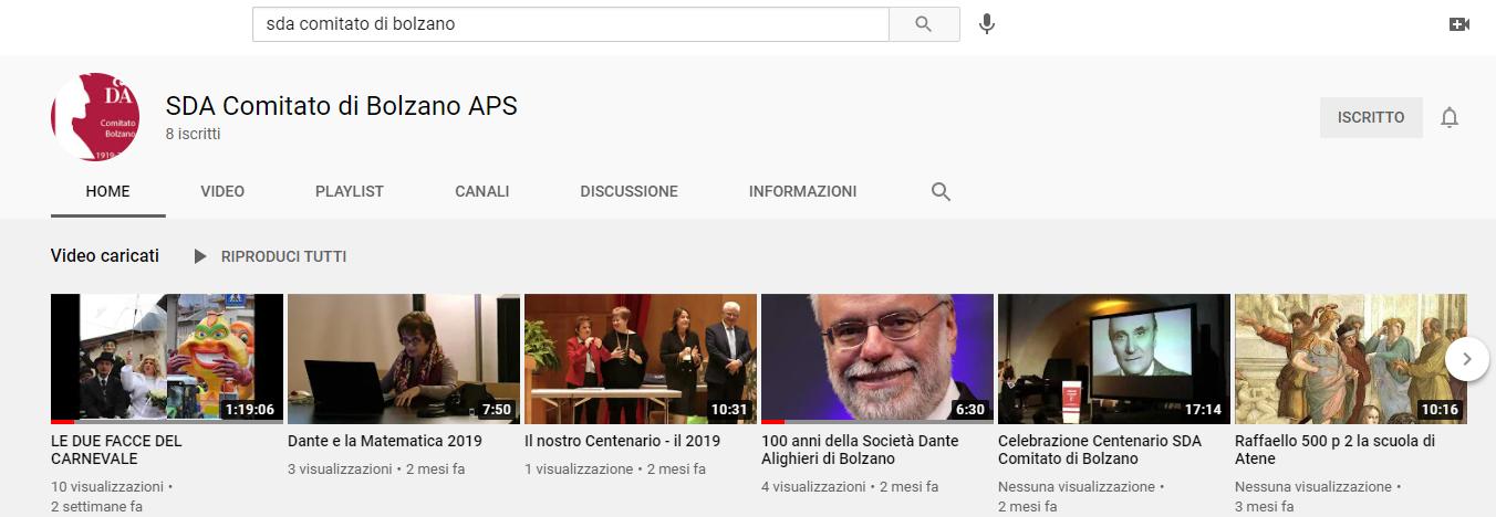 Canale Youtube della SDA di Bolzano